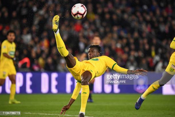 Nantes' Portuguese defender Edgar Le performs a bicycle kick during the French Cup semifinal football match between Paris SaintGermain and FC Nantes...