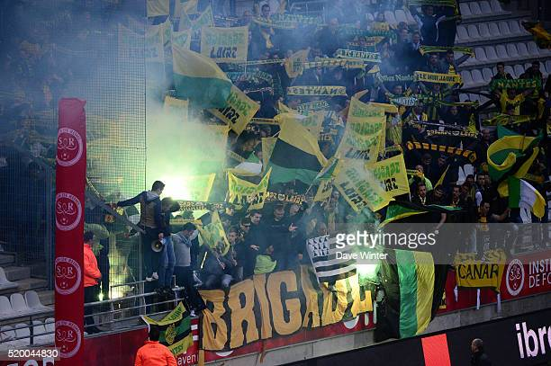 Nantes supporters during the French League 1 match between Stade de Reims and FC Nantes at Stade Auguste Delaune on April 9 2016 in Reims France