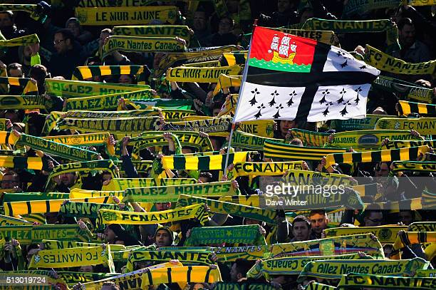 Nantes supporters during the French Ligue 1 game FC Nantes v AS Monaco at Stade de la Beaujoire on February 28 2016 in Nantes France