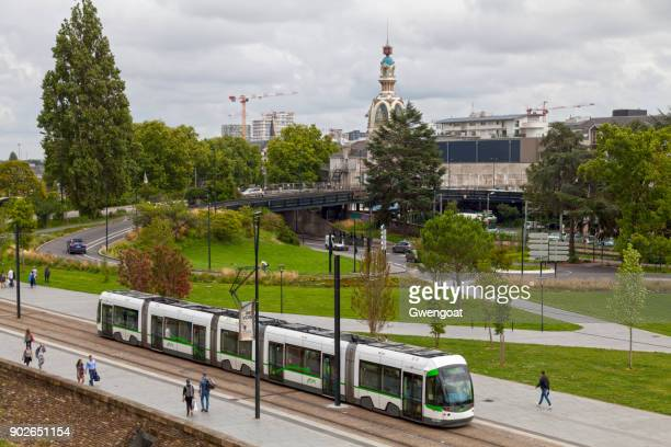 Nantes tramway passing before the Lieu Unique