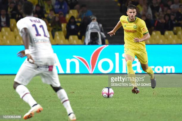 Nantes' US defender Matt Miazga runs with the ball during the French L1 football match between Nantes and Caen at the La Beaujoire stadium in Nantes...