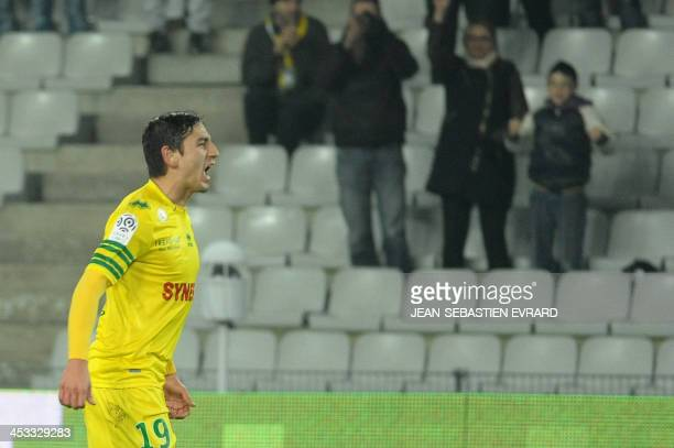 Nantes' US midfielder Alejandro Bedoya celebrates after scoring during the French L1 football match Nantes vs Valenciennes on December 3 2013 at the...