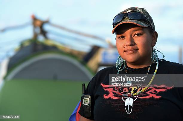 Nantinki Young of the Rosebud Sioux tribe the head cook supervising all the kitchens poses for a photograph at an encampment where hundreds of people...