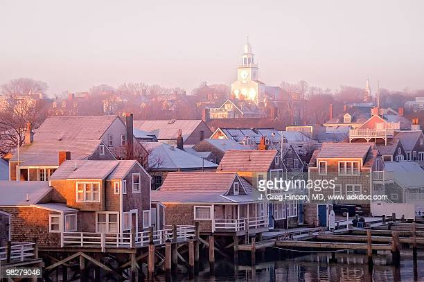 nantucket sunrise townscape - nantucket stock pictures, royalty-free photos & images