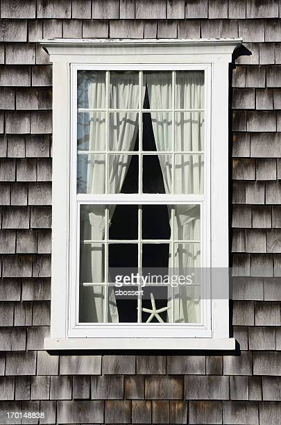 nantucket window - nantucket stock pictures, royalty-free photos & images