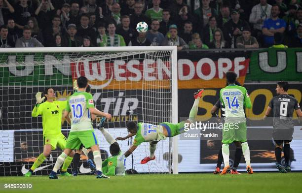 Nany Dimata of Wolfsburg fails to score a goal during the Bundesliga match between VfL Wolfsburg and FC Augsburg at Volkswagen Arena on April 13 2018...