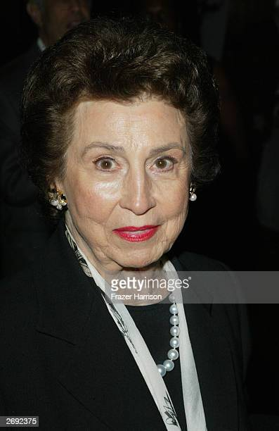 Nany Sinatra Sr arrives for the William Holden Wildlife Foundation's 20th Anniversary 'Broadway goes to the Movies' concert held at the Los Angeles...