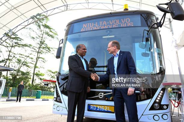 Nanyang Technology University President Subra Suresh and Volvo Buses President Hakan Agnevall unveil Volvo's first full size autonomous electric bus...
