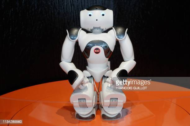 """Nao, a humanoid robot, is displayed during the exhibition """"Robots"""" at the City of Science and Industry or La Cité des Sciences et de l'Industrie in..."""