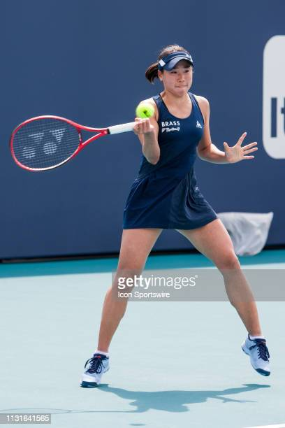 Nao Hibino in action during the Miami Open on March 18 2019 at Hard Rock Stadium in Miami Gardens FL