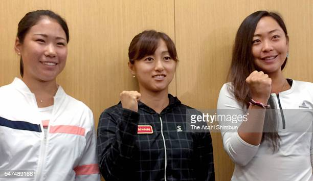 Nao Hibino Misaki Doi and Eri Hozumi of Japan Women's Tennis team for Rio de Janeiro Olympic Games pose for photographs during a press conference on...