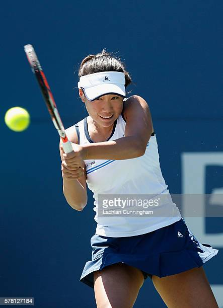 Nao Hibino of Japan competes against Misaki Doi of Japan during day three of the Bank of the West Classic at the Stanford University Taube Family...