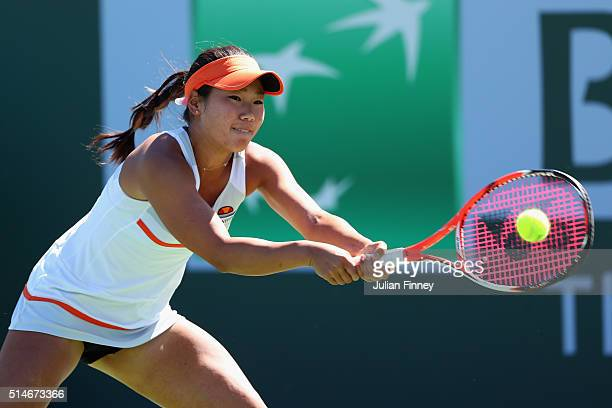 Nao Hibino of Japan in action against Lauren Davis of USA during day four of the BNP Paribas Open at Indian Wells Tennis Garden on March 10 2016 in...