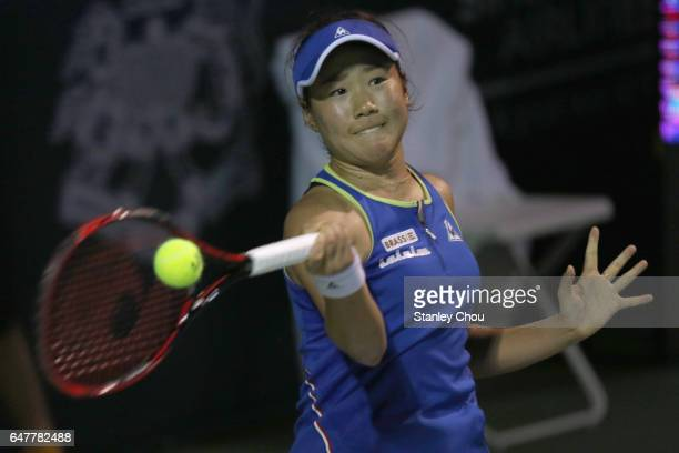 Nao Hibino of Japan in action against Magda Linette of Poland during the Semi Finals of the 2017 WTA Malaysian Open at the TPC on March 4 2017 in...