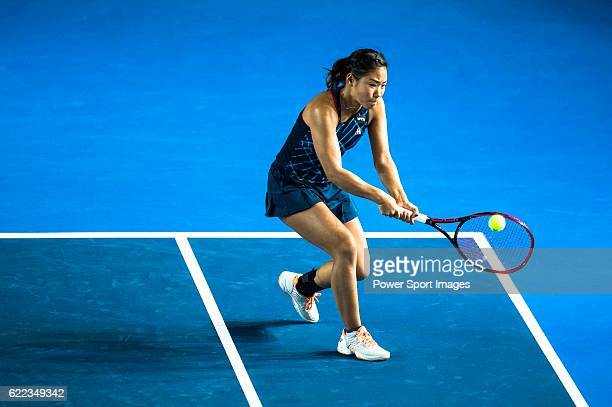 Nao Hibino of Japan in action during the Doubles Semi Finals match with partner Aleksandrina Naydenova of Bulgaria against Naomi Broady of United...