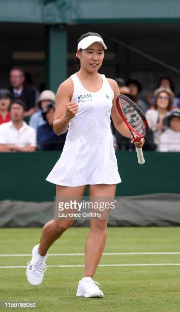 Nao Hibino of Japan partner of Miyu Kato of Japan celebrates in her Ladies' Doubles first round match against Anna Blinkova of Russia and Yafan Wang...