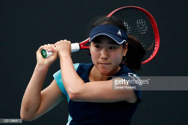 Nao Hibino of Japan plays a backhand during her Women's Singles second round match against Maria Sakkari of Greece on day three of the 2020...