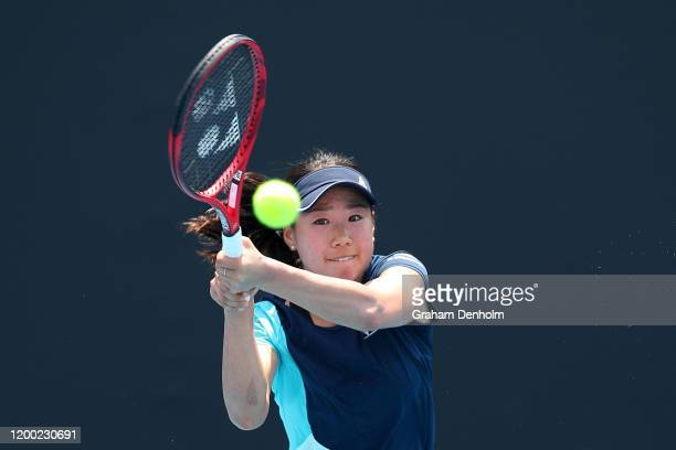 Nao Hibino of Japan plays a backhand in her match against Lara Arruabarrena of Spain during 2020 Australian Open Qualifying at Melbourne Park on...