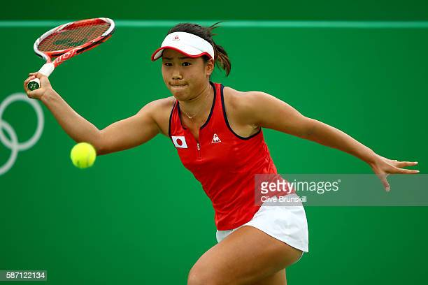 Nao Hibino of Japan plays a forehand against IrinaCamelia Begu of Romania during their first round singles match on Day 2 of the Rio 2016 Olympic...