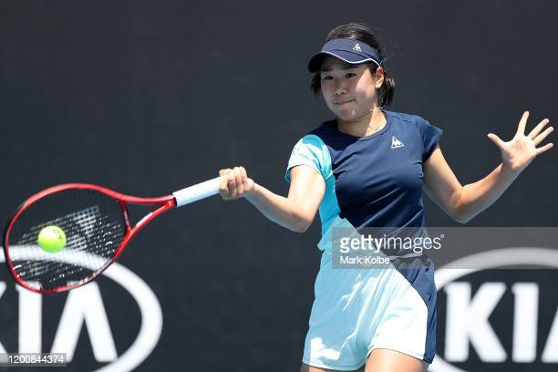 Nao Hibino of Japan plays a forehand during her Women's Singles first round match against Shuai Peng of China on day two of the 2020 Australian Open...