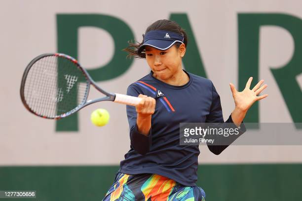 Nao Hibino of Japan plays a forehand during her Women's Singles first round match against Marta Kostyuk of Ukraine on day three of the 2020 French...