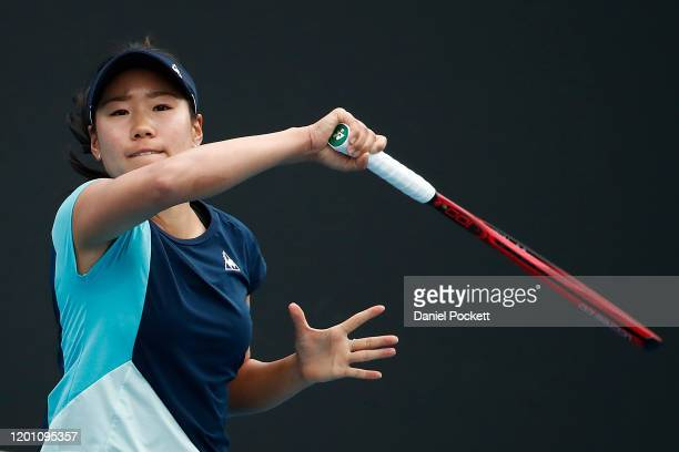 Nao Hibino of Japan plays a forehand during her Women's Singles second round match against Maria Sakkari of Greece on day three of the 2020...