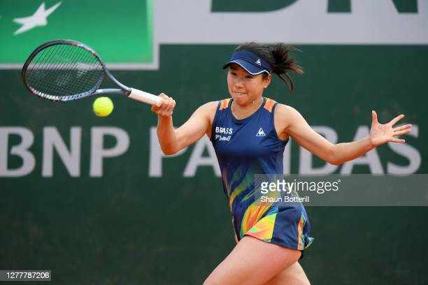 Nao Hibino of Japan plays a forehand during her Women's Singles second round match against Ons Jabeur of Tunisia on day five of the 2020 French Open...
