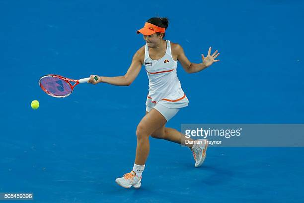 Nao Hibino of Japan plays a forehand in her first round match against Maria Sharapova of Russia during day one of the 2016 Australian Open at...