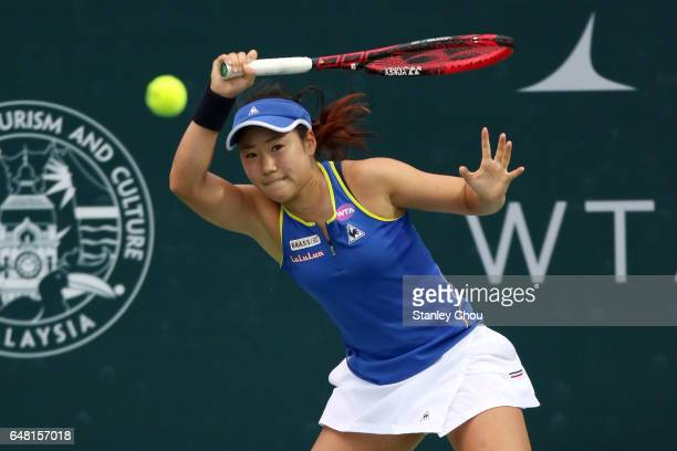 Nao Hibino of Japan Plays a forehand shot to Ashleigh Barty of Australia during the Final of the 2017 WTA Malaysian Open at the TPC on March 5 2017...
