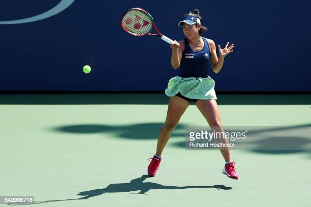 Nao Hibino of Japan reacts against Catherine Bellis of the United States during their first round Women's Singles match on Day Three of the 2017 US...