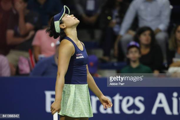 Nao Hibino of Japan reacts against Lucie Safarova of Czech Republic in their second round Women's Singles match on Day Four of the 2017 US Open at...