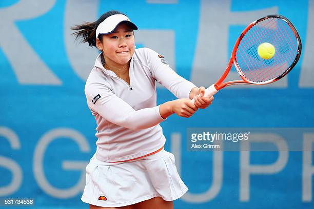 Nao Hibino of Japan returns the ball to Christina McHale of USA during Day Three of the Nuernberger Versicherungscup 2016 on May 16 2016 in Nuremberg...