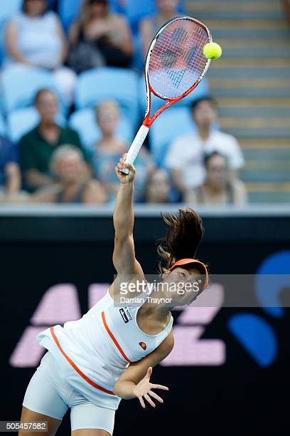 Nao Hibino of Japan serves in her first round match against Maria Sharapova of Russia during day one of the 2016 Australian Open at Melbourne Park on...