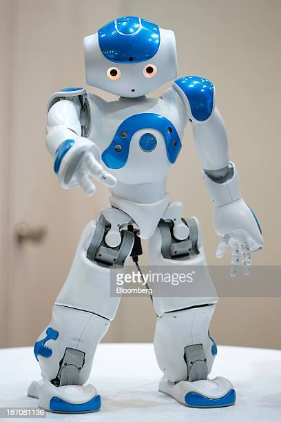 Nao humanoid robot, developed by Aldebaran Robotics, stands on display at the International Robot Exhibition 2013 in Tokyo, Japan, on Wednesday, Nov....