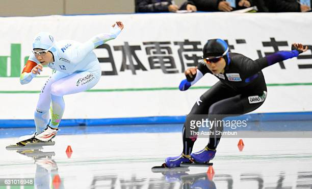 Nao Kodaira competes with Miho Takagi in the Women's 500m during day two of the 41st All Japan Sprint Speed Skating Championships at M Wave on...