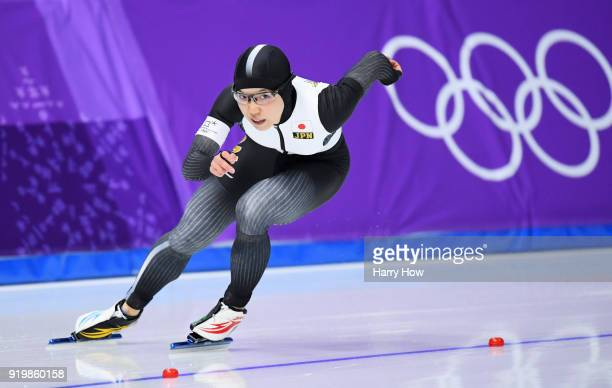 Nao Kodaira of Japan competes during the Ladies' 500m Individual Speed Skating Final on day nine of the PyeongChang 2018 Winter Olympic Games at...