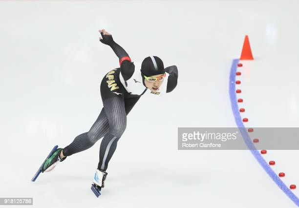 Nao Kodaira of Japan competes during the Ladies' Speed Skating 1000m on day five of the PyeongChang 2018 Winter Olympic Games at Gangneung Oval at...