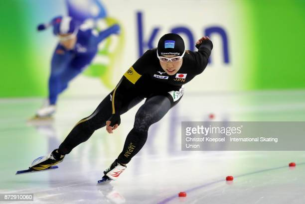 Nao Kodaira of Japan competes during the second ladies 500m Division A race on Day Two during the ISU World Cup Speed Skating at the Thialf on...