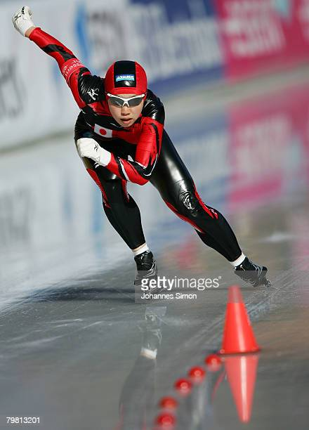 Nao Kodaira of Japan competes in the 500m heats during Day 2 of the Essent ISU Speed Skating World Cup at the Ludwig Schwabl Eisstadion on February...