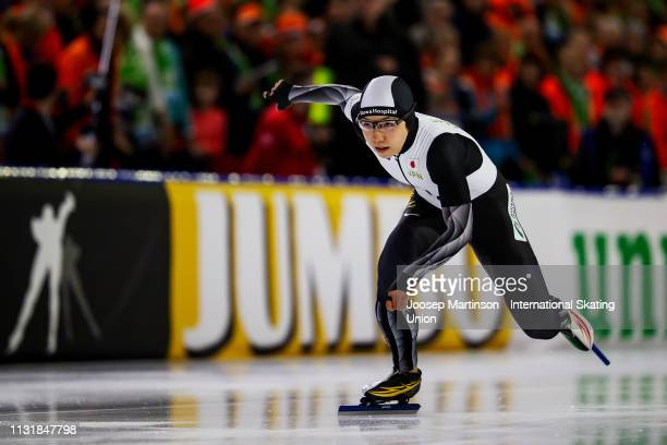Nao Kodaira of Japan competes in the Ladies 500m during day 2 of the ISU World Sprint Speed Skating Championships Heerenveen at Ice Rink Thialf on...