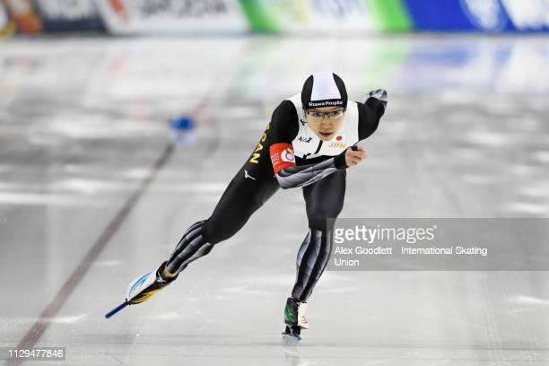 Nao Kodaira of Japan competes in the women's 1000m duing the ISU World Cup Final at the Utah Olympic Oval on March 9 2019 in Salt Lake City Utah...