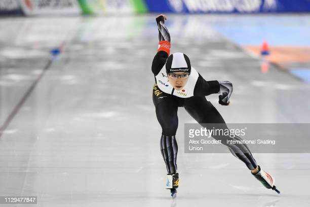 Nao Kodaira of Japan competes in the women's 1000m duing the ISU World Cup Final at the Utah Olympic Oval on March 9 2019 in Salt Lake City Utah