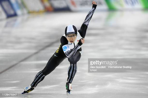 Nao Kodaira of Japan competes in the women's 500m duing the ISU World Cup Final at the Utah Olympic Oval on March 9 2019 in Salt Lake City Utah