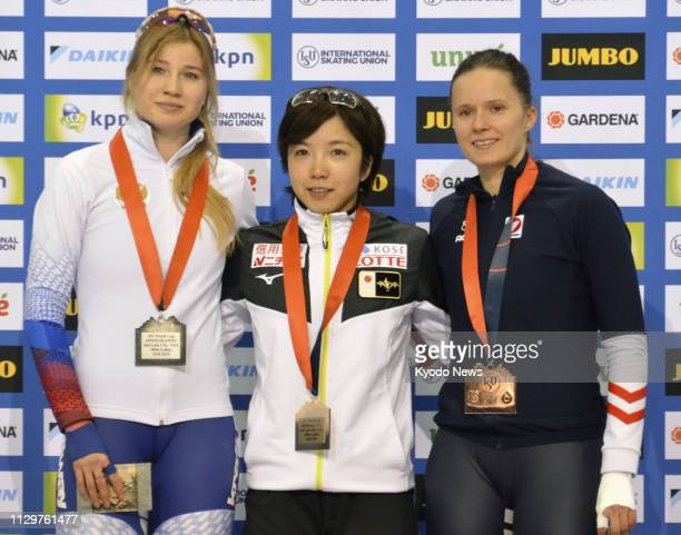 Nao Kodaira of Japan poses for a photo after winning the women's 500 meters at the World Cup speed skating seasonending event in Salt Lake City Utah...
