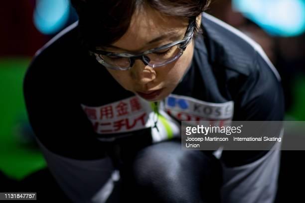 Nao Kodaira of Japan prepares ahead of the Ladies 500m during day 2 of the ISU World Sprint Speed Skating Championships Heerenveen at Ice Rink Thialf...