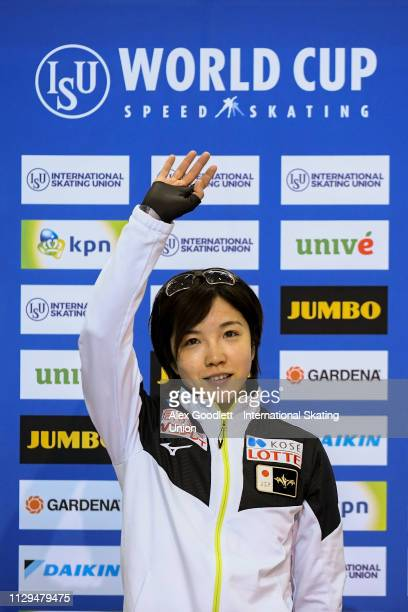 Nao Kodaira of Japan stands on the podium after the women's 500m duing the ISU World Cup Final at the Utah Olympic Oval on March 9 2019 in Salt Lake...