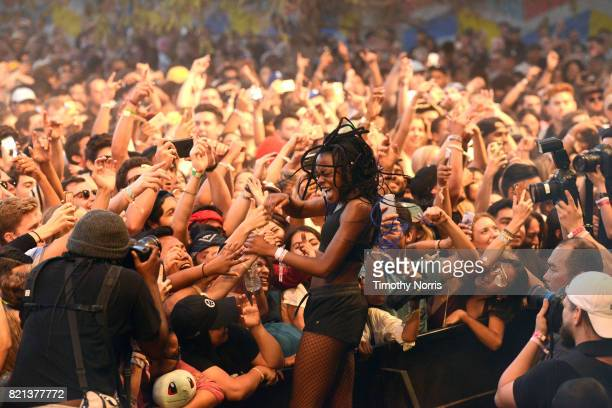 Nao performs with Mura Masa onstage on day 3 of FYF Fest 2017 at Exposition Park on July 23 2017 in Los Angeles California