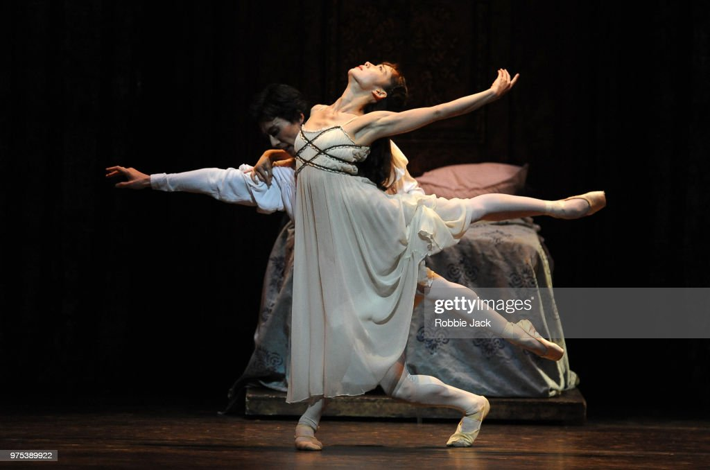 Nao Sakuma as Juliet and Yasuo Atsuji as Romeo in Birmingham Royal Ballet's production of Kenneth MacMillan's Romeo and Juliet at Sadler's Wells Theatre on June 12, 2018 in London, England.
