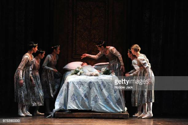 Nao Sakuma as Juliet with artists of the company in Birmingham Royal Ballet's production of Kenneth MacMillan's Romeo and Juliet at Sadler's Wells...