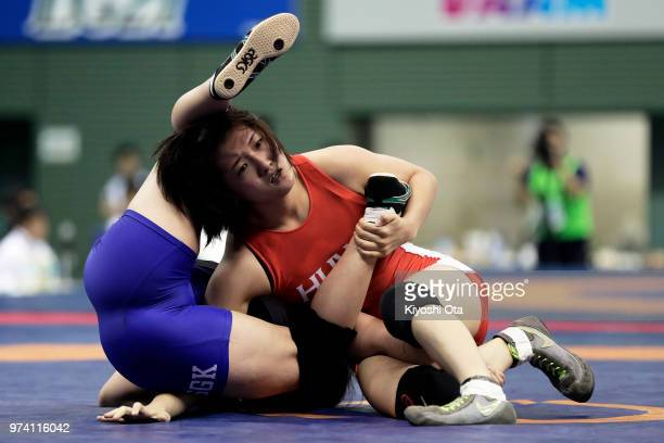 Nao Taniyama competes against Tomoha Uchijo in the Women's 55kg first round match on day one of the All Japan Wrestling Invitational Championships at...